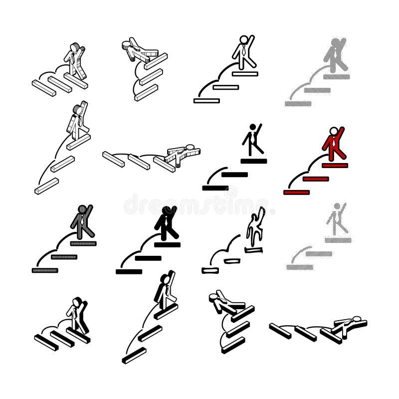 Sistema del vector moderno de la colección Tipo multi del icono de la gente del paso de ilustración del vector