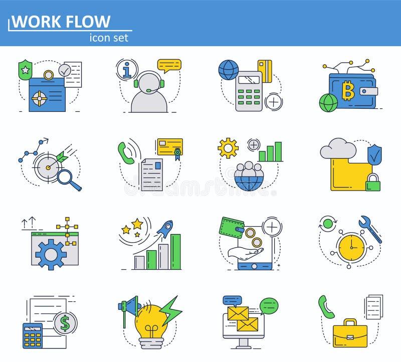 Sistema del vector del negocio e iconos digitales del dinero en la línea estilo fina Página web UI e icono móvil del app de la we stock de ilustración