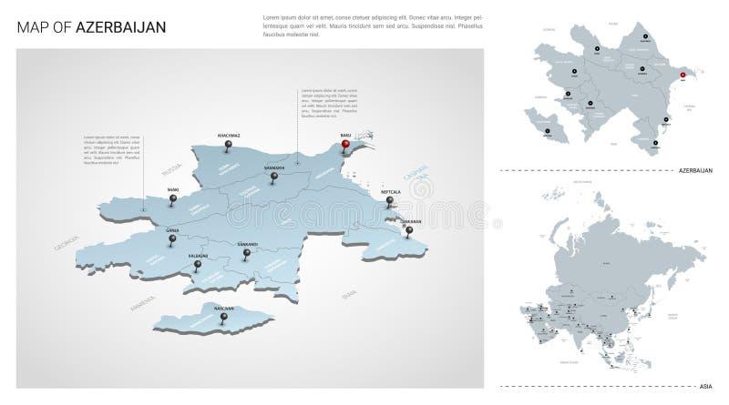 Sistema del vector del país de Azerbaijan Mapa isométrico 3d, mapa de Azerbaijan, mapa de Asia - con la región, nombres del estad libre illustration