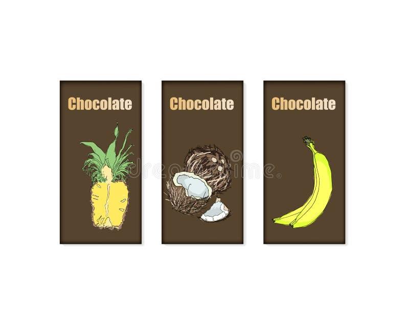 Sistema del vector del paquete de la barra de chocolate ilustración del vector