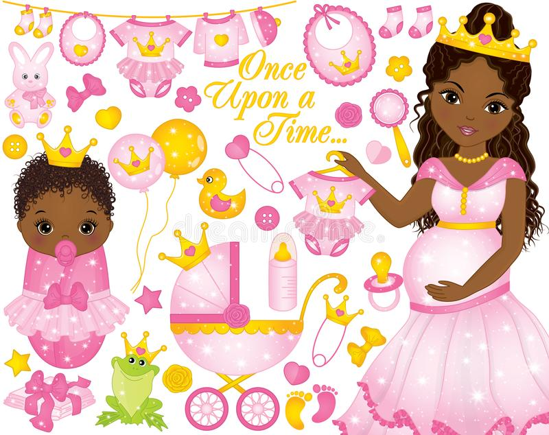 Sistema del vector para la ducha del bebé con la mujer embarazada y el bebé afroamericanos vestidos como princesas libre illustration