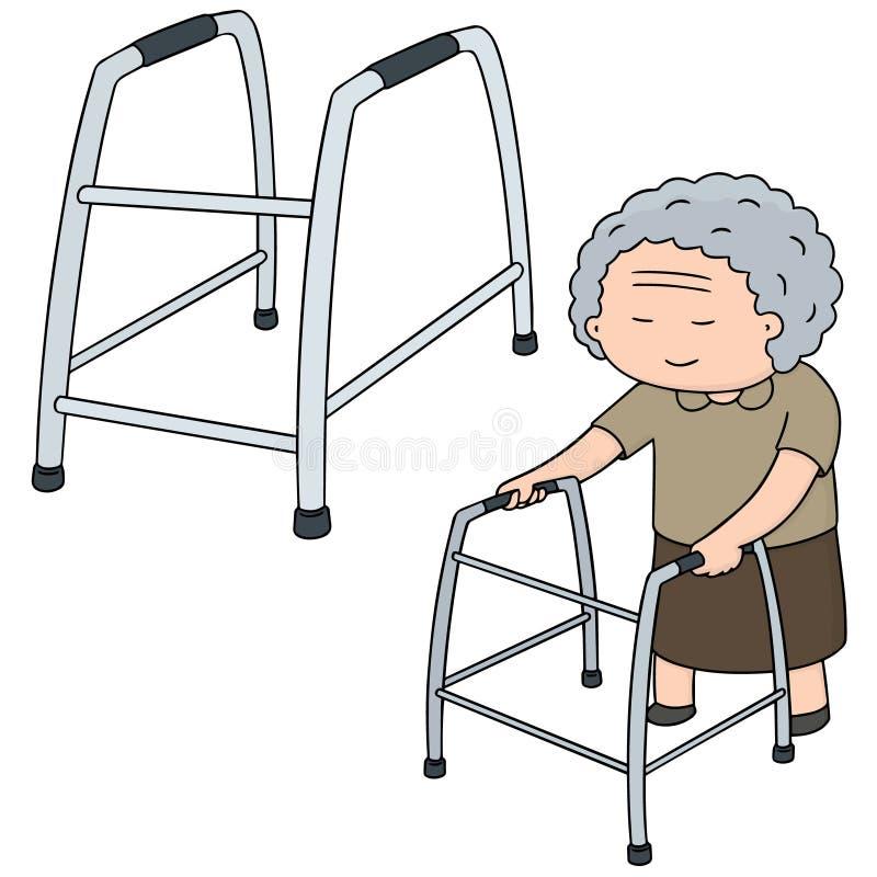Sistema del vector del paseo de una más vieja mujer usando caminante libre illustration