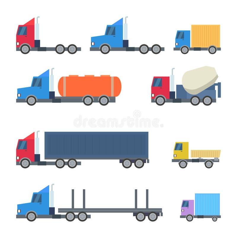 Sistema del vector plano del diseño de los camiones ilustración del vector
