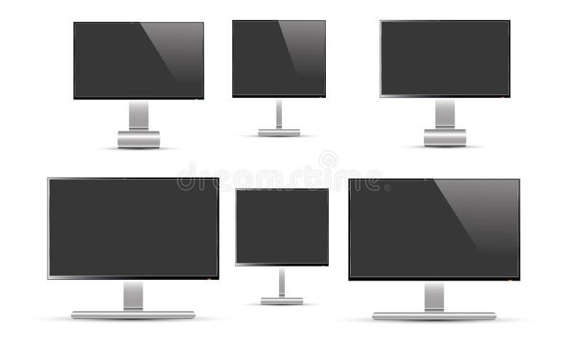 Sistema del vector realista del monitor LCD de la TV ilustración del vector