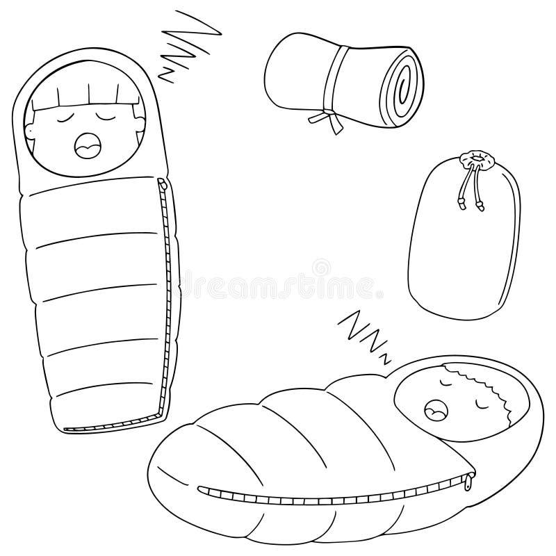 Sistema del vector del saco de dormir ilustración del vector
