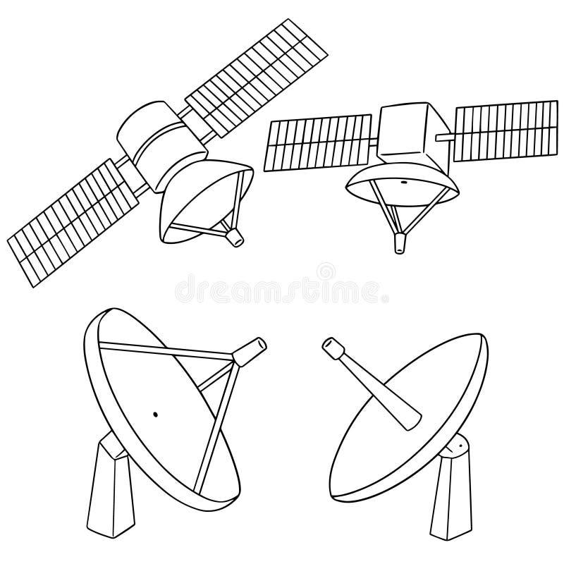 Sistema del vector del satélite ilustración del vector