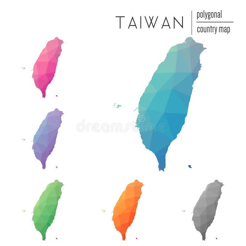 Sistema del vector Taiwán poligonal, la República de China libre illustration