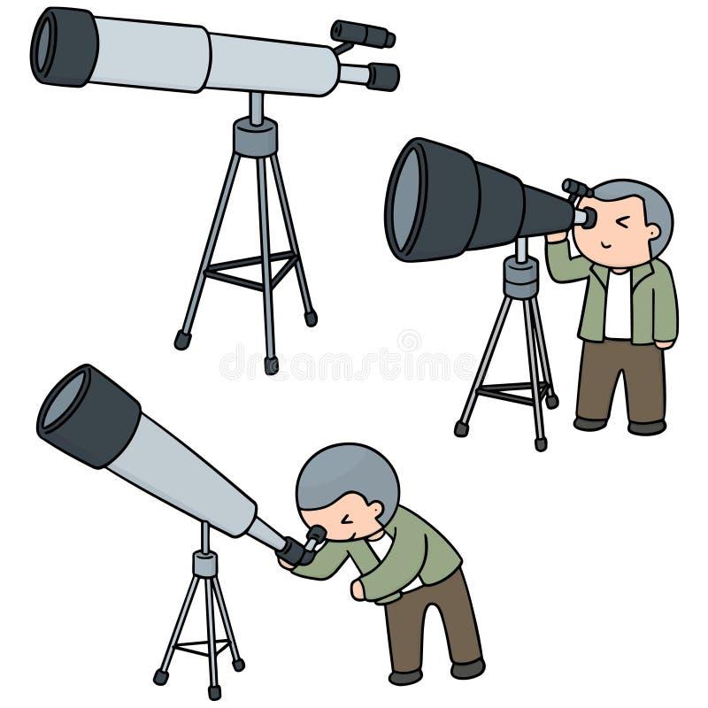 Sistema del vector del telescopio ilustración del vector