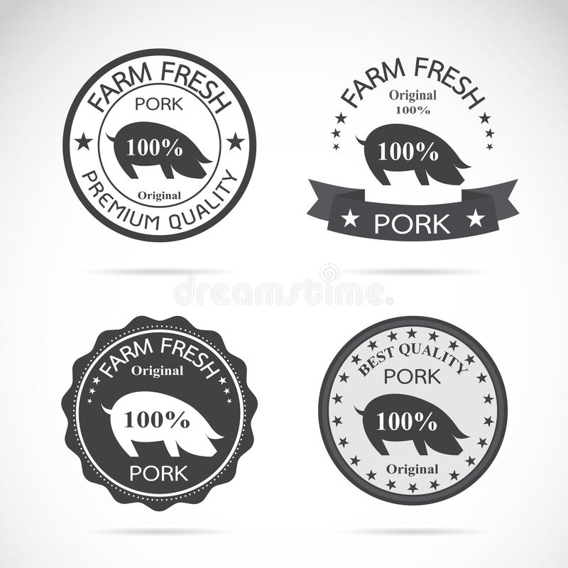 Sistema del vector una etiqueta del cerdo stock de ilustración