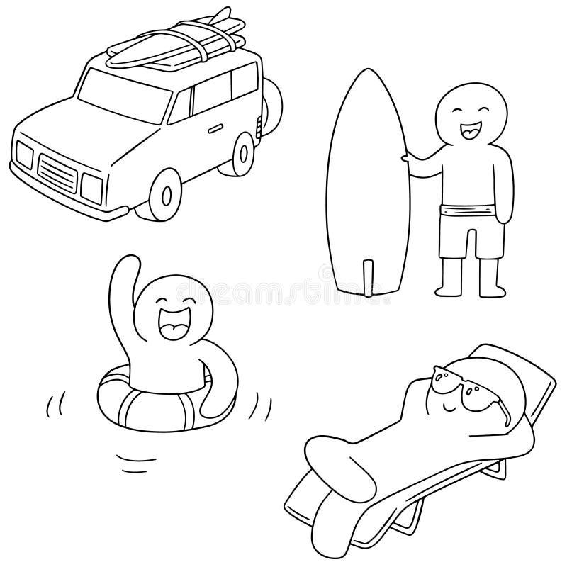 Sistema del vector del viaje stock de ilustración