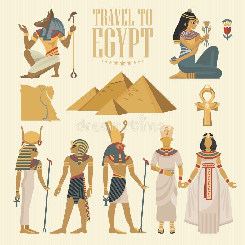 Sistema del vector del viaje de Egipto Iconos tradicionales egipcios en diseño plano Bandera del día de fiesta Vacaciones y veran ilustración del vector
