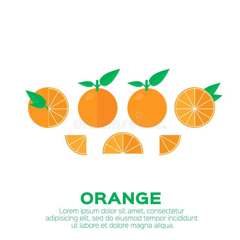 Sistema del verano de fruta anaranjada con la hoja stock de ilustración