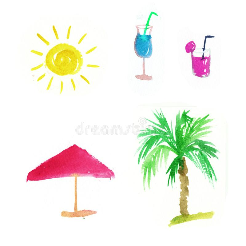 Sistema del verano de la acuarela sol, palmera, vidrio con el cóctel ilustración del vector
