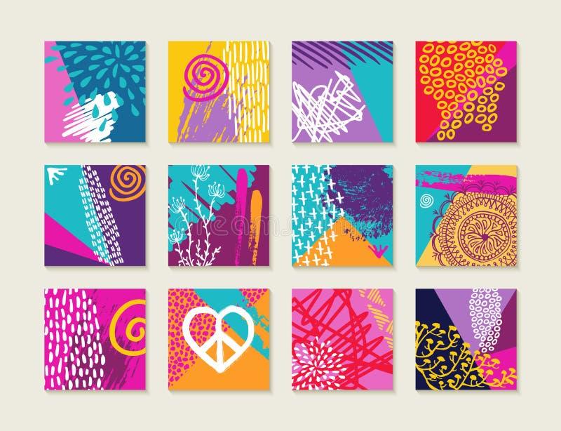 Sistema del verano de tarjetas coloridas con diseños felices stock de ilustración