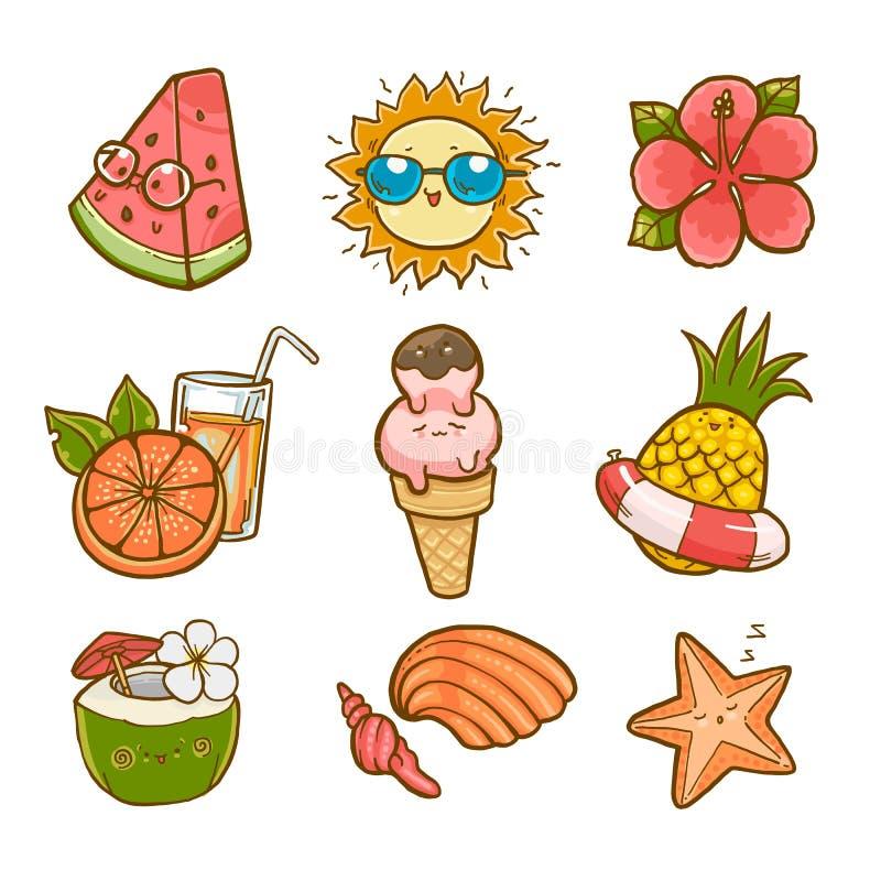 Sistema del verano, elementos del gr?fico de vector fotos de archivo libres de regalías