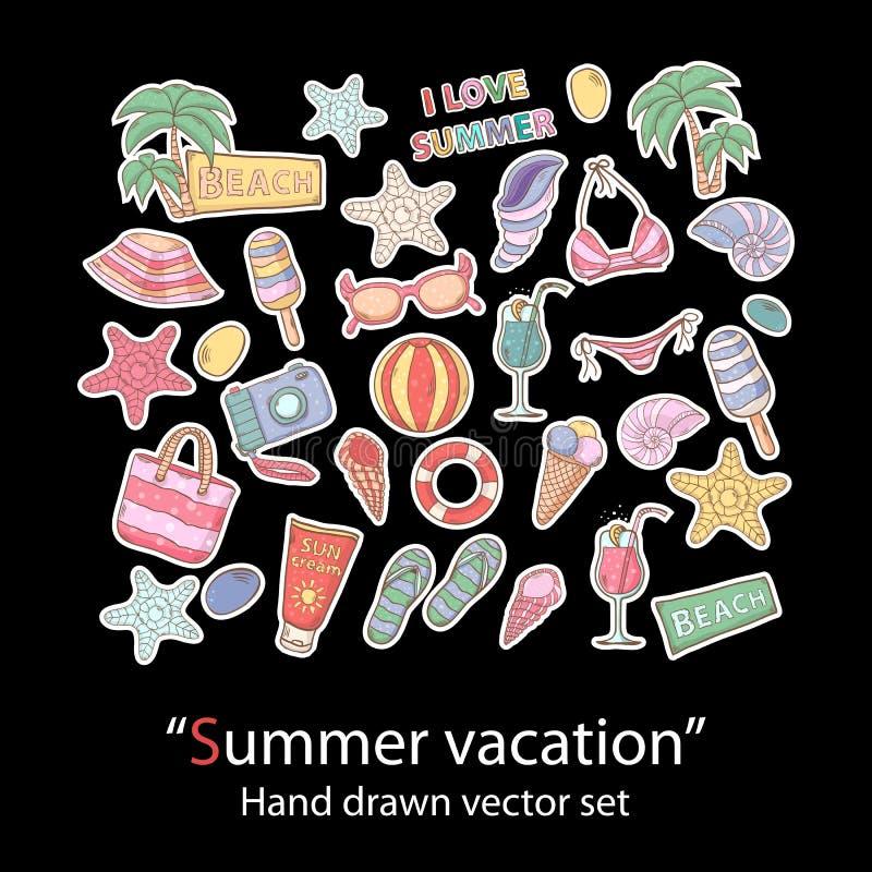 Sistema del verano scrapbook El remiendo de la moda badges la colección stock de ilustración