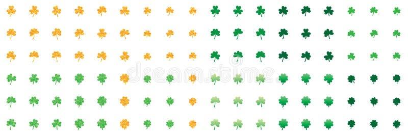 Sistema del verde del brillo del oro del amor de la hoja del trébol stock de ilustración