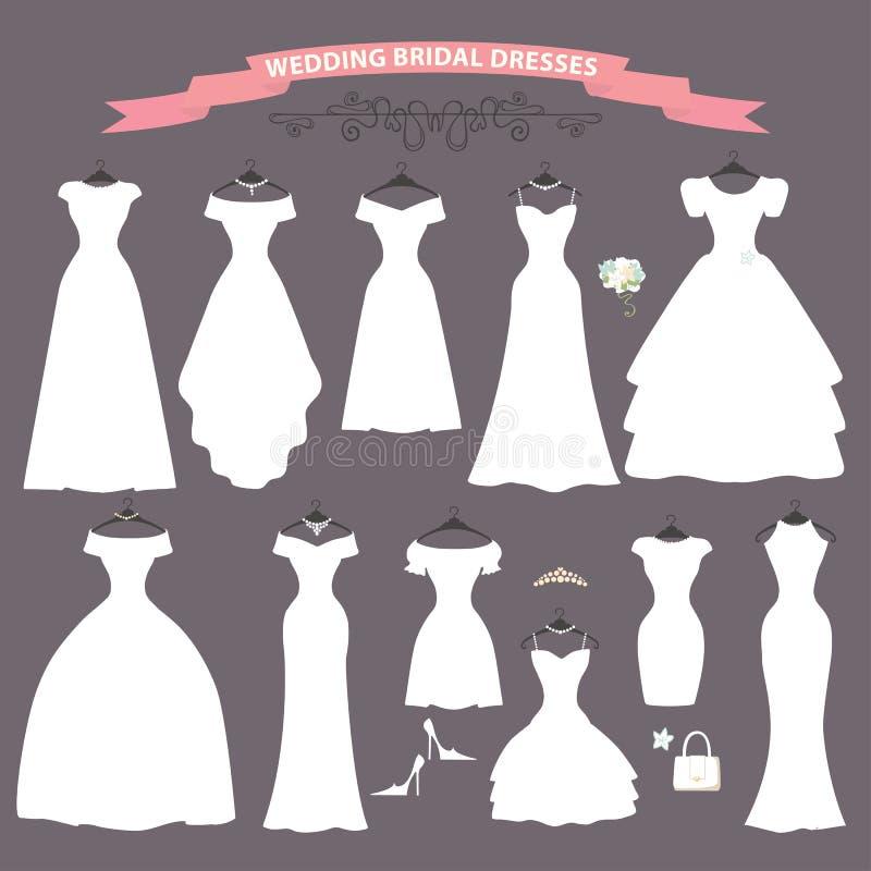 Sistema Del Vestido De Boda Diseño Plano Ducha Nupcial Ilustración ...