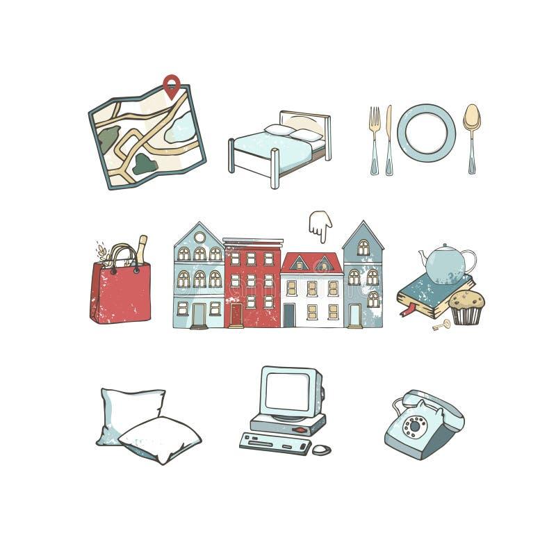 Sistema del viaje de iconos del turismo Ilustración drenada mano del vector Clip art para el parador, página web, blogger, estilo ilustración del vector