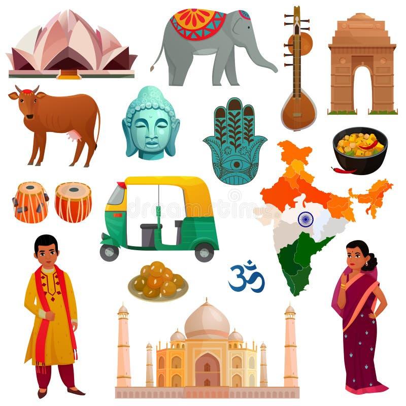 Sistema del viaje de la India ilustración del vector