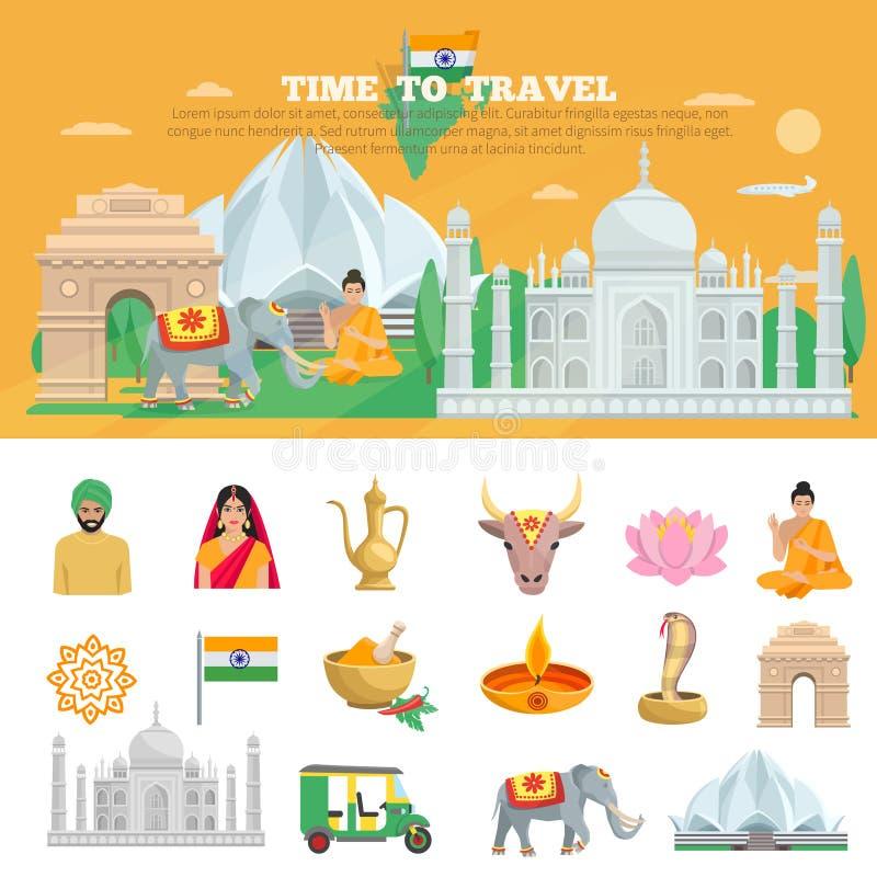 Sistema del viaje de la India stock de ilustración