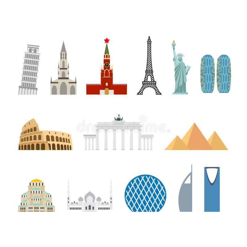Sistema del viaje de la señal Monumentos arquitectónicos Estado sabido del bui stock de ilustración