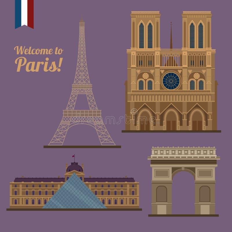 Sistema del viaje de París Lugares famosos - torre Eiffel, Louvre stock de ilustración