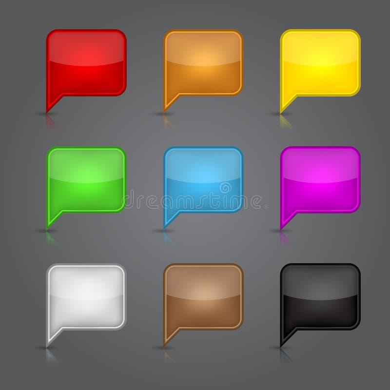 Sistema del vidrio de los iconos del App. Burbuja vacía brillante del discurso nosotros ilustración del vector