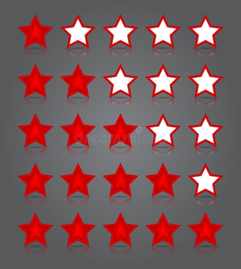 Sistema del vidrio de los iconos del App. Cinco grados brillantes de las estrellas del rojo stock de ilustración