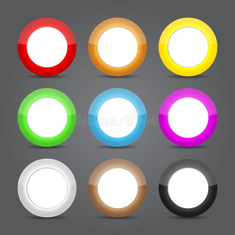 Sistema del vidrio de los iconos del App. Iconos brillantes del botón. libre illustration