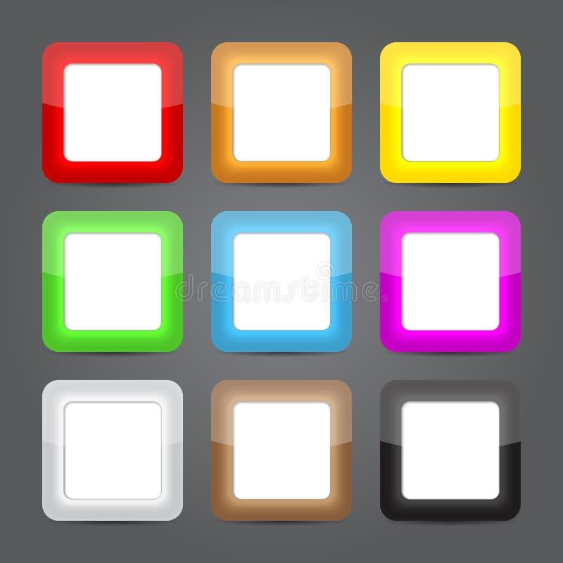Sistema del vidrio de los iconos del App. Iconos brillantes del botón. stock de ilustración
