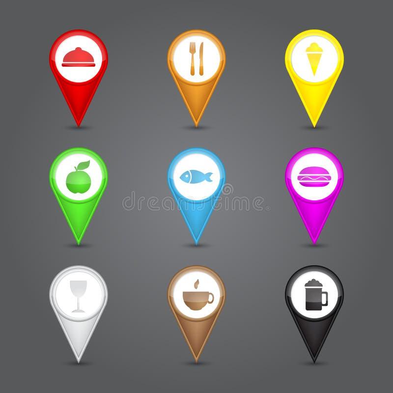 Sistema del vidrio de los iconos del App. Perno brillante del mapa de la ronda 3D con   ilustración del vector