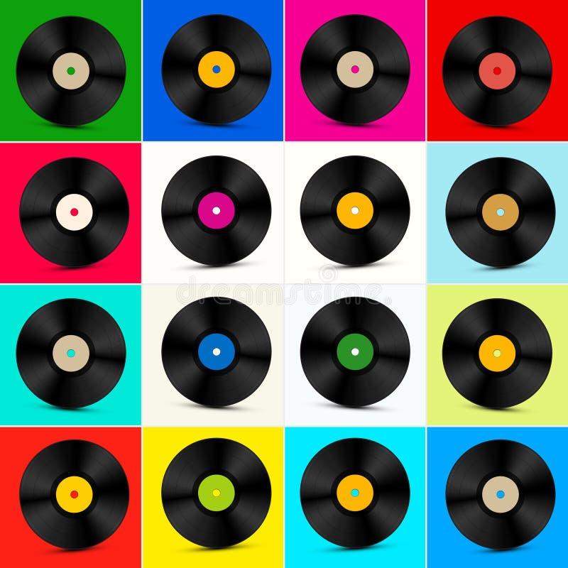 Sistema del vinilo Disco colorido retro de LP ilustración del vector