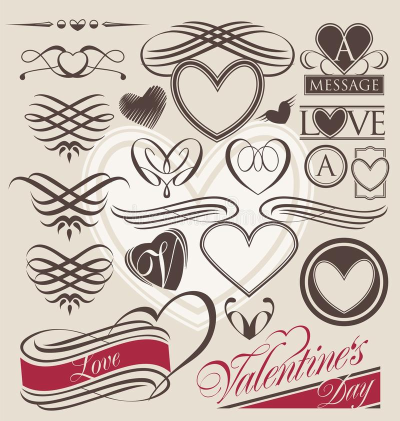 Sistema del vintage de elementos del diseño del corazón stock de ilustración