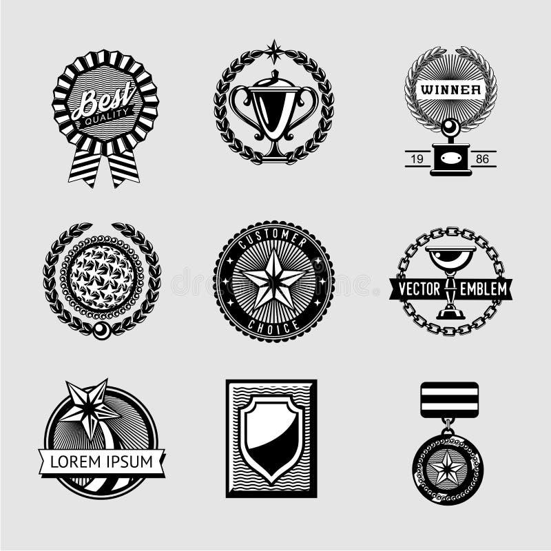 Sistema del vintage de la insignia de los premios Colección de logro del vector Estilo del inconformista Etiquetas del trofeo stock de ilustración