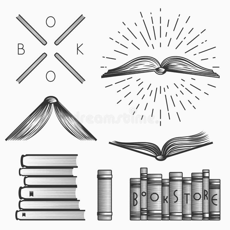 Sistema del vintage de logotipos de la librería, de etiquetas y de elementos del diseño Vector común ilustración del vector