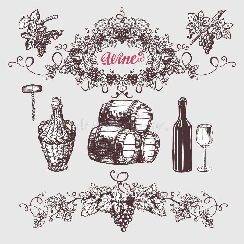 Sistema del vintage del vino y de la vinificación stock de ilustración