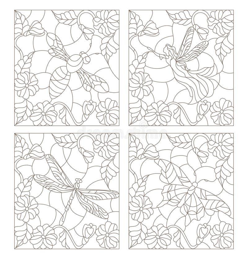 Sistema del vitral de la hada, de la abeja, de la mariposa y de la libélula de los ejemplos del contorno en los colores de fondo  stock de ilustración