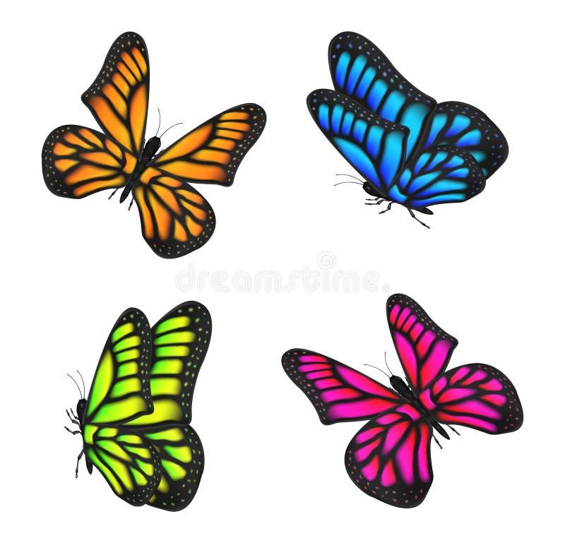 Sistema del vuelo colorido real de la mariposa aislado stock de ilustración