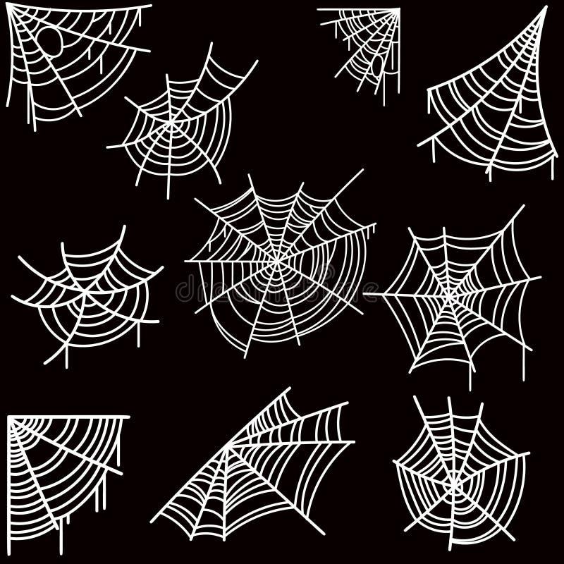 Sistema del web de araña de Halloween en fondo oscuro Diseñe el elemento para el cartel, tarjeta, bandera, aviador, decoración stock de ilustración