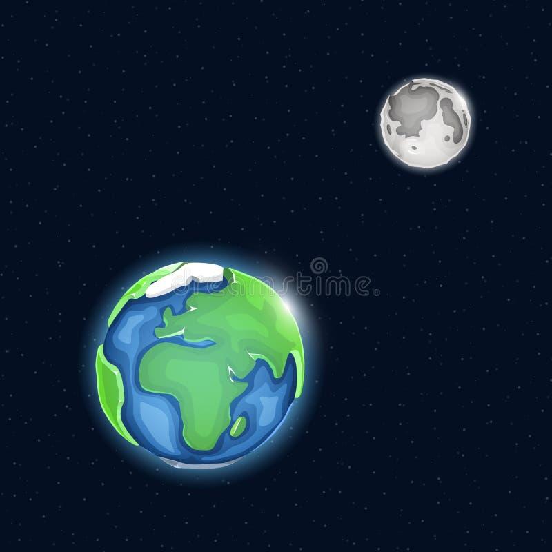 Sistema della luna e della terra nello spazio illustrazione di stock