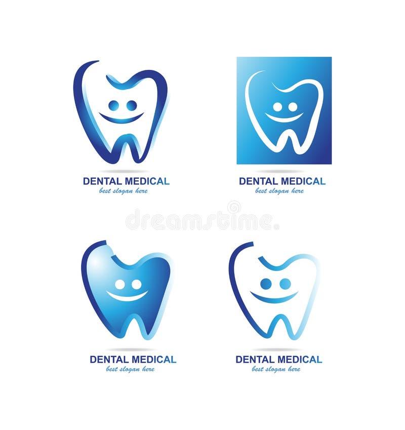 Sistema dental del icono del logotipo del dentista stock de ilustración