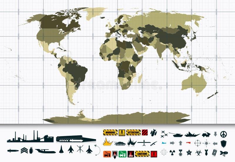 Sistema detallado del icono del mapa del mundo y de la potencia militar libre illustration