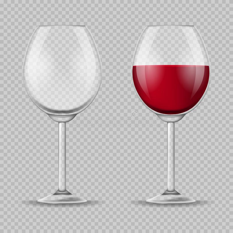 Sistema detallado realista de la copa de vino 3d Vector stock de ilustración