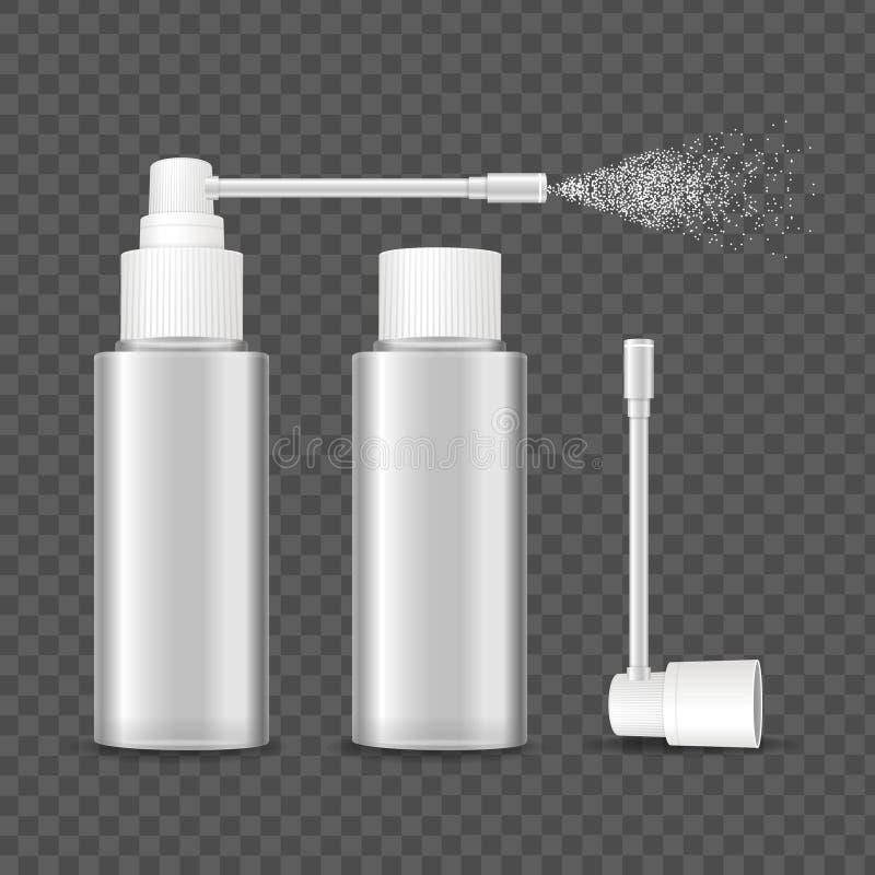 Sistema detallado realista de la maqueta de la plantilla del espray de la botella del espacio en blanco 3d Vector ilustración del vector
