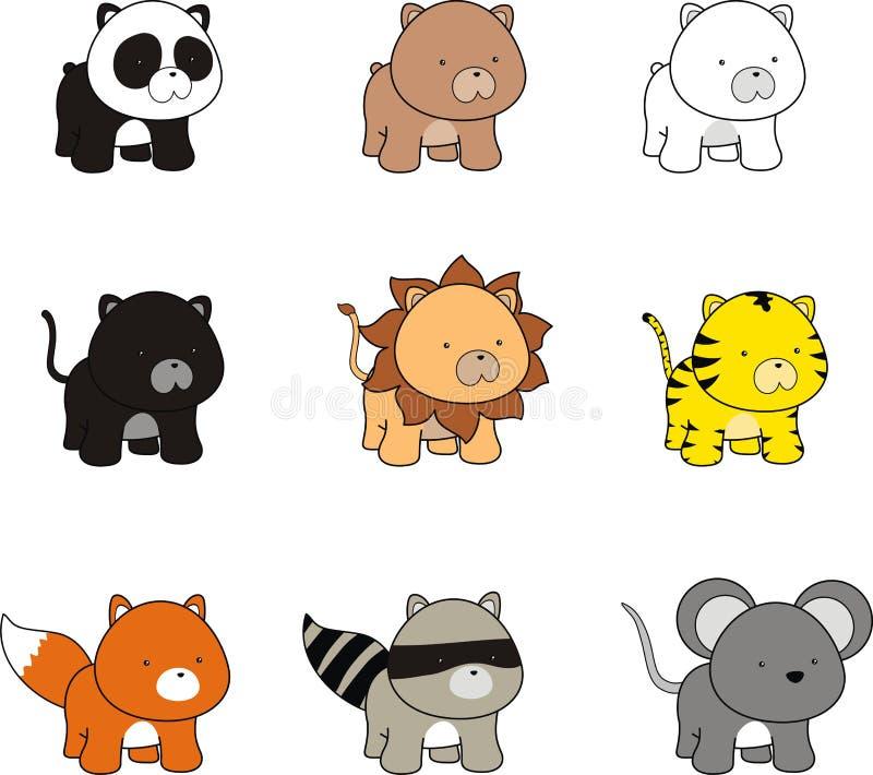 Sistema determinado del paquete de los animales de la historieta preciosa del bebé ilustración del vector