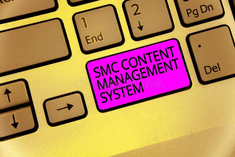 Sistema di content management di Smc del testo della scrittura Mangae creazione e modifica di significato di concetto della tasti immagini stock libere da diritti