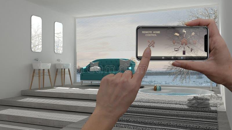 Sistema di controllo domestico a distanza su una compressa digitale dello Smart Phone Dispositivo con le icone di app Interno del immagini stock libere da diritti