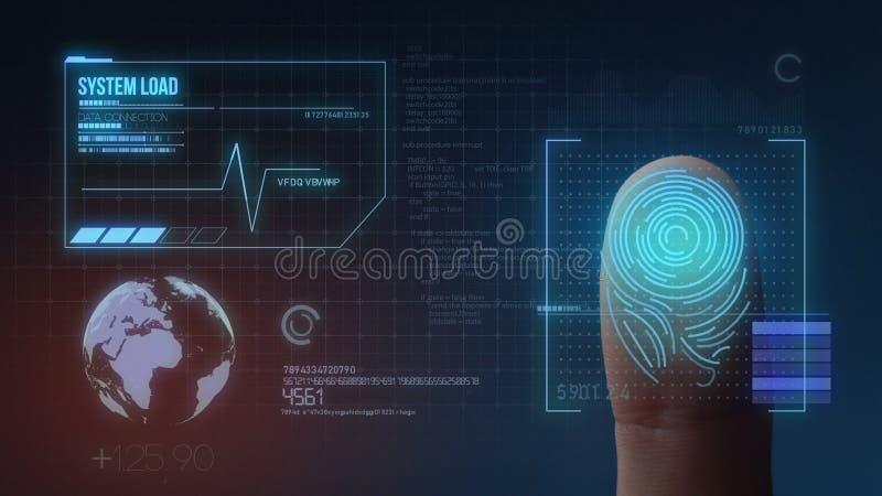Sistema di identificazione d'esplorazione biometrico dell'impronta digitale illustrazione vettoriale