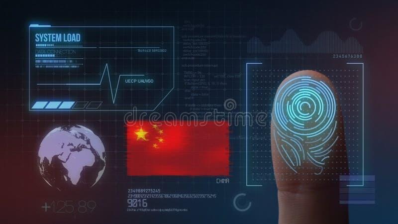 Sistema di identificazione d'esplorazione biometrico dell'impronta digitale Nazionalità della Cina illustrazione vettoriale